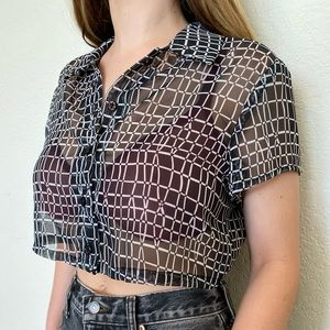 Vintage Sheer Geometric Button Down Crop Top